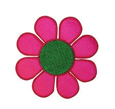 Groovy Pink & Green Daisy Hippie Flower Power Embroidered Iron On Applique Patch