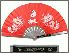 "14.75"" OVERALL RED DRAGON & TAICHI KUNG FU FAN METAL FRAME MARTIAL ARTS WEAPON"