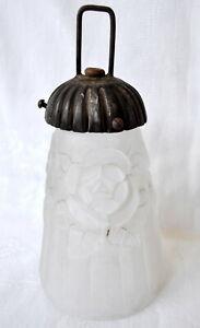 GRANDE TULIPE ART DECO 1930 Décor ROSES + Griffe Pour PIED LAMPE LUSTRE APPLIQUE