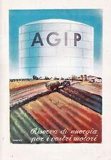 PUBBLICITA'1951 AGIP BENZINA MOTORI TRATTORI AGRICOLTURA RISERVA MANCIOLI