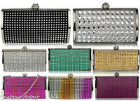 Womens Designer Sparkly Crystal Evening Hard Case Clutch Ladies Prom Party Bag