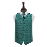 DQT Floral Paisley Teal Mens Wedding Waistcoat & Cravat Set