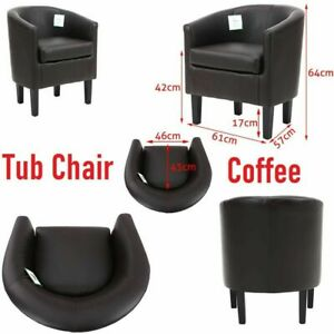 Tub Chair Armchair Sofa Seat PU Leather For Dining Living Room Office Reception
