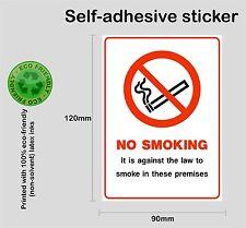 NO SMOKING on these premises - Printed self-adhesive vinyl sticker bus car taxi