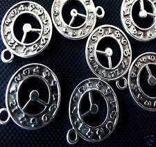 10 x Tibetan Silver Watch Clock Pendant Charms Alice In Wonderland