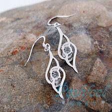 Plume d'ange exquis en Platine plaqué Zircon bijoux Boucles d'oreilles Hot