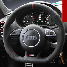 Hand-stitched Black leather Car Steering Wheel Stitch on Wrap Cover for Audi S3