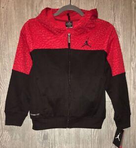 NIKE Jordan Black Red Therma Fit Fleece F/Z Hoodie Jacket NEW Youth Boys M 10 12
