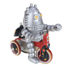 Wind Up tin toy planet Robot on Tricycle scooter car model collectible