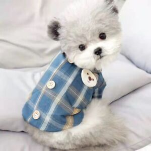 Pet Check Jacket Clothes Toy Dog Shirt Poodle Chihuahua Plaid Shirts Tops Cute
