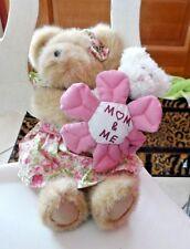 "Boyds bear 10"" tan Momma Bearlove & 5"" white Baby  bear, ""Mom and Me""  #82533"