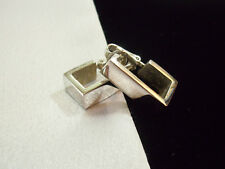 AVON Silver Plate SQUARED HOOP Clip on Earrings Vintage Estate Career Classic