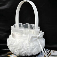 new Romantic Bowknot Satin Wedding Ceremony Party Rose Flower Girl Basket White