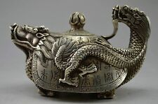 Old Handwork Tibet Silver Carved Dragon Tortoise Teapot w Kangxi Mark NR gd6196