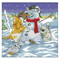 Printed Christmas snowman and animal cross stitch 11 CT DIY needle wedding E7N4