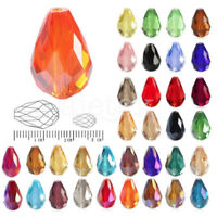 DIY Wholesale 72/50Pcs 6/10mm Faceted Teardrop Crystal Loose Spacer Beads
