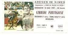 RARE / TICKET BILLET SPECTACLE - CORRIDA A NIMES - FRANCE 1997 / TAUROMACHIE COW