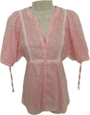 Ann Taylor Loft Small Pink Cream Floral Blouse Top Boho Semi Sheer