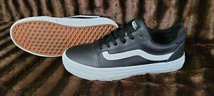 Vans Authentic Black Leather Classic Canvas  Shoes Women's Size 8