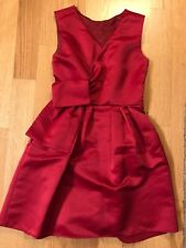 Pinko Italy Red Dress 42 6 Satin Sleeveless Bow Fit Flare