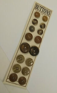 16 Fancy Brown Buttons * VINTAGE * Gutta Percha * Bakelite * Tortoise * Coat OLD