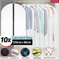10x Plastic Clear Dust-proof Suit Covers Cloth/Dress Garment Bag Storage Protect