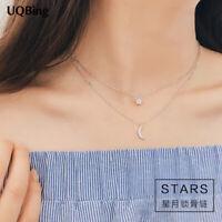 Halskette, Doppelkette, Anhänger, 925 Silber, Stern, Mond, Strass, NEU