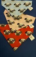 Slide on dog bandana size M with pug dog faces polycotton