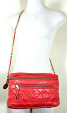 Vintage CHANEL Quilted Lambskin Leather Lipstick Red Camera Crossbody Bag