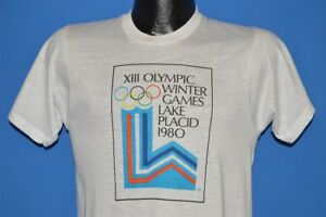 vtg 80s XIII OLYMPIC WINTER GAMES LAKE PLACID NY 1980 USA DEADSTOCK t-shirt S