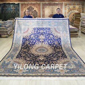 8'x10' Handmade Silk Carpet Blue Home Office Classic Home Indoor Rug TJ191A