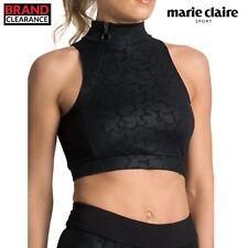 Marie Claire Sport Lower Back Zip Bra Top Black Ladies Training Fashion RRP: £39