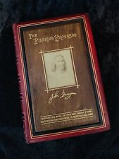 PILGRIMS PROGRESS Elstow Edition WOOD FROM CHURCH Bunyan Portrait RARE BINDING