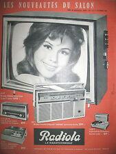 PUBLICITE DE PRESSE RADIOLA TELEVISION RADIO MAGNETOPHONE FRENCH AD 1963