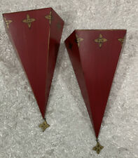 SET OF 2 SOUTHERN LIVING HOME Red Tin Sassy Wall Sconces  #40404  (2) Shelves