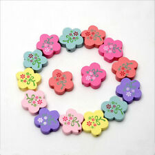 25X Mix color Wooden Bead Flower shape Baby Crafts&Pacifier Clip Necklace 20mm