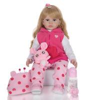 24'' Handmade Reborn Baby Dolls Lifelike Toddler Blond Curls Girl Doll Xmas Gift