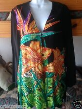 New DIANE GILMAN 100% SILK Tunic l/s TOP * BLACK & Tropical FLOWERS*Sequins* S M