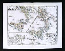 1866 Stulpnagel Map South Italia Sicilia Italy Sicily Greek Roman Era Syracuse