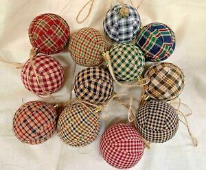 Homespun Plaid Fabric/Primitive/Farmhouse/Christmas Balls/Set of 12