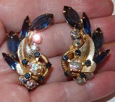 VINTAGE D&E JULIANA AURORA BOREALIS &BLUE RHINESTONES GOLDTONE CLIP EARRINGS