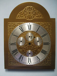 Grandfather Clock Brass Face Dial, Tempus Fugit, 4 Small Dials, AF Patch + Marks