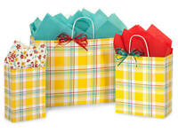 SUNSHINE PLAID Design Party Gift Paper Bag ONLY Choose Size & Pack Amount