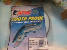 AFW Tooth Proof #04 Brown 38Lb 17 KG 30 FT 9.2 M Stainless Steel Leader Wire!!!