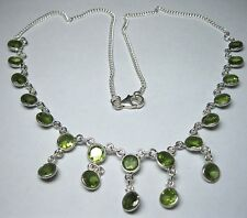 Vintage Edwardian Style Solid Sterling Silver Real PERIDOT Stone Drop NECKLACE