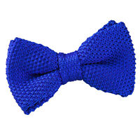 DQT Knit Knitted Plain Royal Blue Casual Adjustable Pre-Tied Boys' Bow Tie