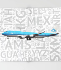KLM Boeing 747 with Airport Codes - 51x60 Throw Blanket