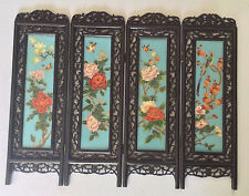 Exqusisite RARE Antique Chinese Cloisonne Four Panel Table Screen
