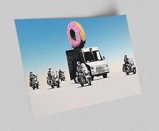 ACEO Banksy Donut Police Graffiti Street Art Canvas Giclee Print