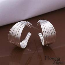 New 925 Sterling Silver Filled Brushed Earrings Women's Multiple Band Studs